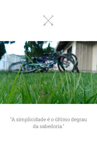 """""""A simplicidade é o último degrau da sabedoria."""""""