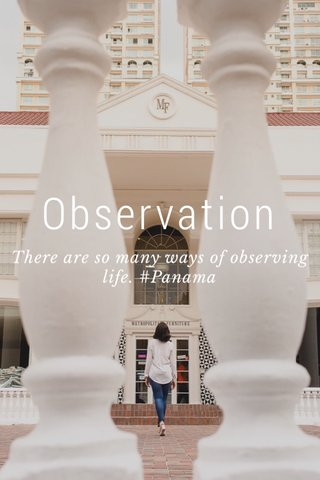 Observation There are so many ways of observing life. #Panama