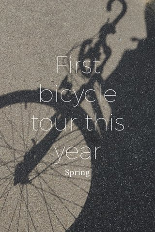 First bicycle tour this year Spring