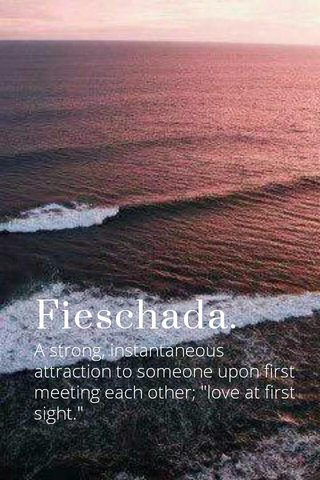 """Fieschada. A strong, instantaneous attraction to someone upon first meeting each other; """"love at first sight."""""""