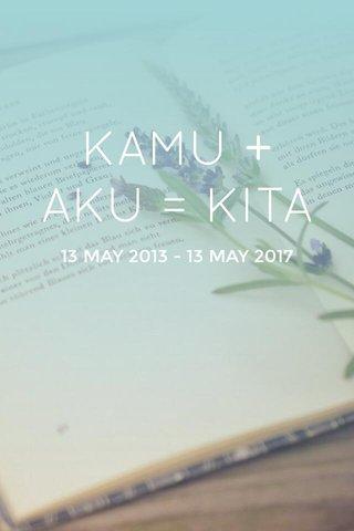 KAMU + AKU = KITA 13 MAY 2013 - 13 MAY 2017