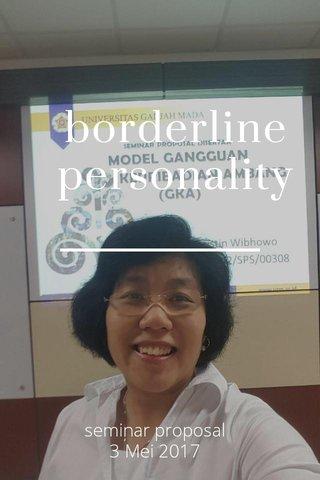borderline personality seminar proposal 3 Mei 2017