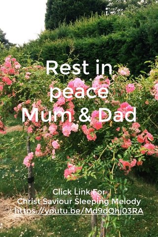 Rest in peace Mum & Dad Click Link For Christ Saviour Sleeping Melody https://youtu.be/Md9dQhj03RA