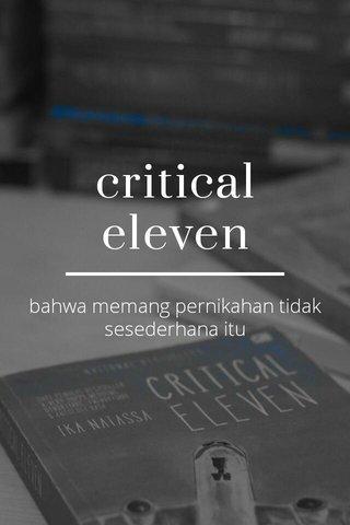 critical eleven bahwa memang pernikahan tidak sesederhana itu
