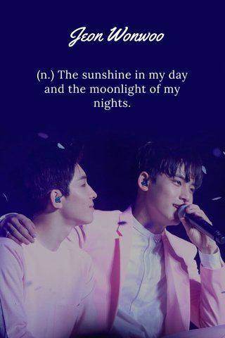 Jeon Wonwoo (n.) The sunshine in my day and the moonlight of my nights.
