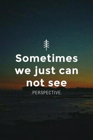 Sometimes we just can not see .PERSPECTIVE.