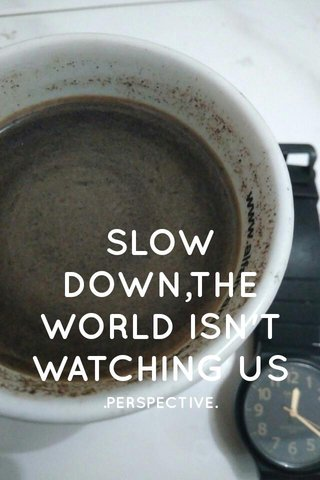 SLOW DOWN,THE WORLD ISN'T WATCHING US .PERSPECTIVE.