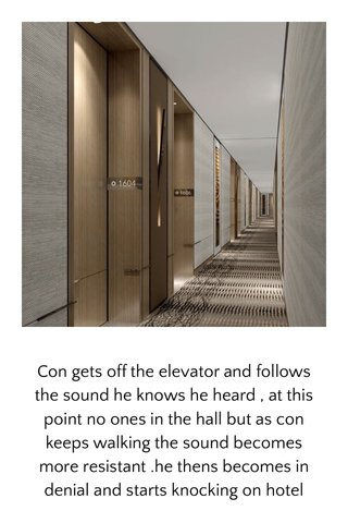 Con gets off the elevator and follows the sound he knows he heard , at this point no ones in the hall but as con keeps walking the sound becomes more resistant .he thens becomes in denial and starts knocking on hotel room doors , after he attempts the first four with no luck , a house keeper comes from the stair well and ask con to basically stop disturbing guest , con explained his situation as clear as day , the housekeeper agreed but disagreed considering guest were getting more annoyed .
