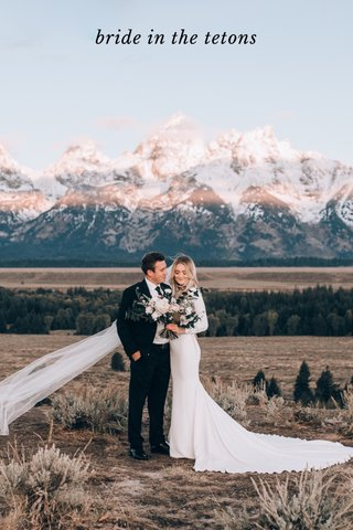 bride in the tetons