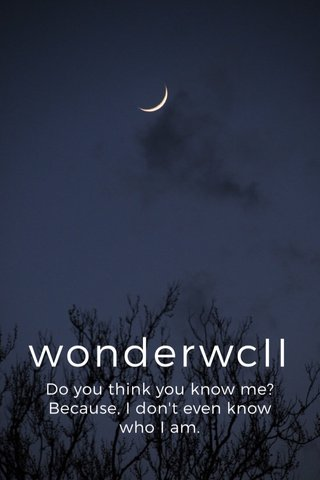 wonderwcII Do you think you know me? Because, I don't even know who I am.