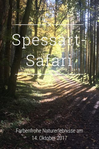Spessart-Safari Farbenfrohe Naturerlebnisse am 14. Oktober 2017