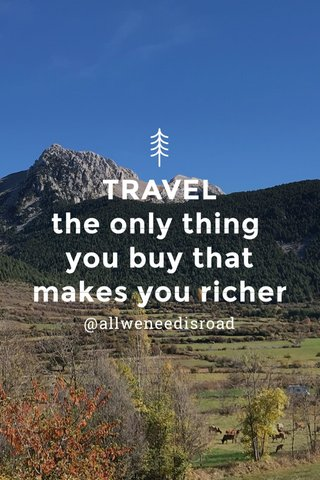 TRAVEL the only thing you buy that makes you richer @allweneedisroad