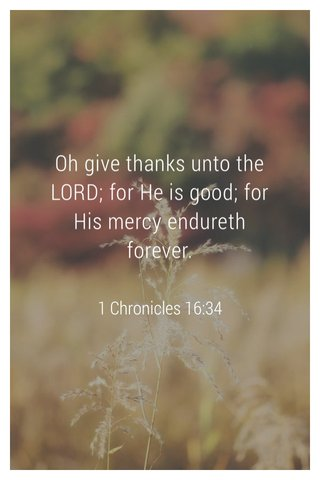 Oh give thanks unto the LORD; for He is good; for His mercy endureth forever. 1 Chronicles 16:34