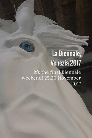 La Biennale, Venezia 2017 It's the final Biennale weekend! 25,26 November 2017