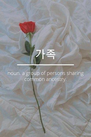 가족 noun. a group of persons sharing common ancestry.