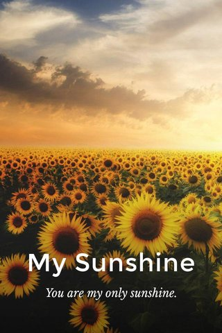 My Sunshine You are my only sunshine.