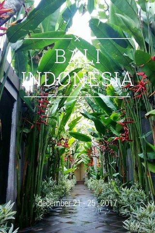 BALI INDONESIA december 21 - 25 , 2017