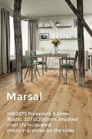 Marsal HW2073 Pureplank 3.2mm Rustic, 207x2200mm, brushed matt UV lacquered micro v-grooves on the sides