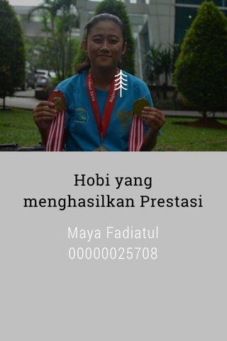 Hobi yang menghasilkan Prestasi Maya Fadiatul 00000025708 Kelas: G