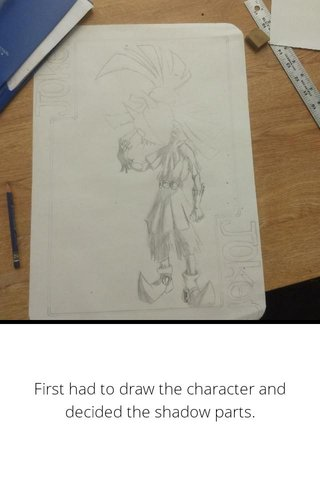 First had to draw the character and decided the shadow parts.