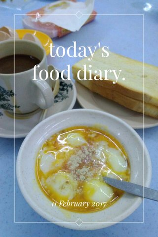 today's food diary. 11 February 2017