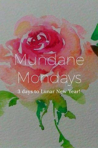 Mundane Mondays 3 days to Lunar New Year!
