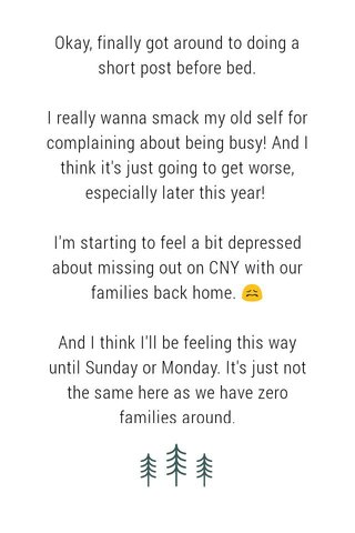 Okay, finally got around to doing a short post before bed. I really wanna smack my old self for complaining about being busy! And I think it's just going to get worse, especially later this year! I'm starting to feel a bit depressed about missing out on CNY with our families back home. 😖 And I think I'll be feeling this way until Sunday or Monday. It's just not the same here as we have zero families around.