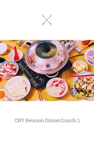CNY Reunion Dinner/Lunch :)