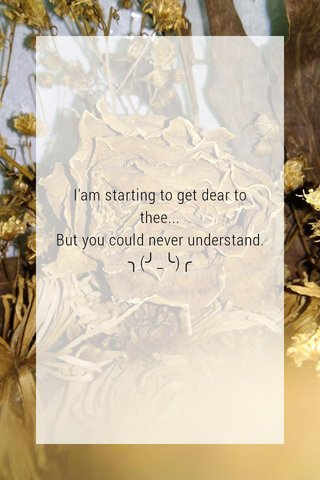 I'am starting to get dear to thee... But you could never understand. ╮(╯_╰)╭