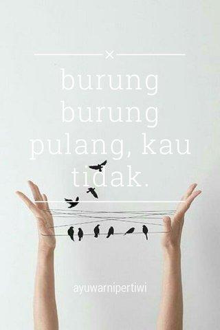 burung burung pulang, kau tidak. ayuwarnipertiwi