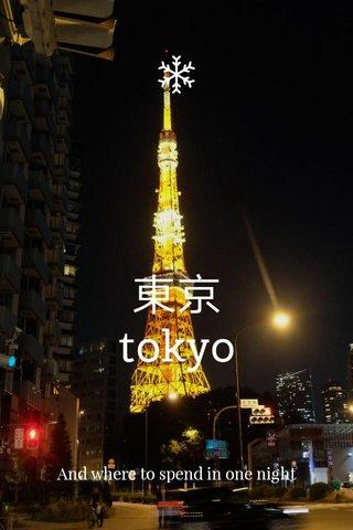 東京 tokyo And where to spend in one night