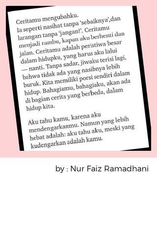 by : Nur Faiz Ramadhani