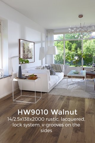 HW9010 Walnut 14/2.5x138x2000 rustic, lacquered, lock system, v-grooves on the sides ———— 1808€ 121.97.77