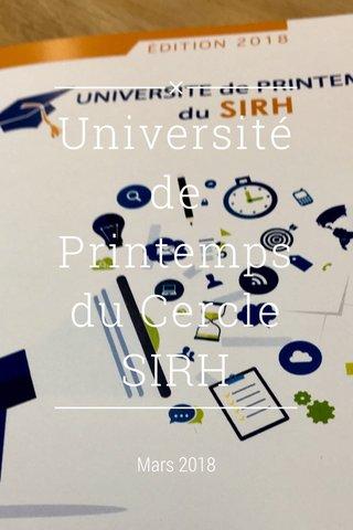 Université de Printemps du Cercle SIRH Mars 2018