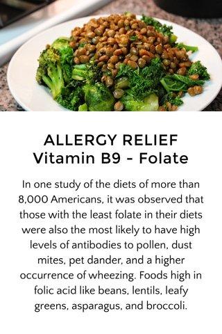ALLERGY RELIEF Vitamin B9 - Folate