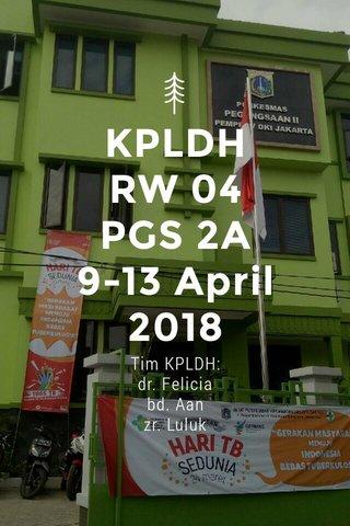 KPLDH RW 04 PGS 2A 9-13 April 2018 Tim KPLDH: dr. Felicia bd. Aan zr. Luluk