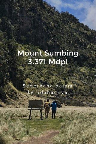 Mount Sumbing 3.371 Mdpl Sederhana dalam keindahannya