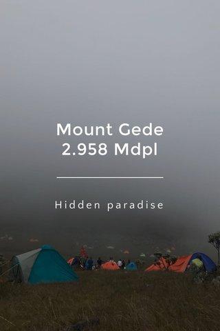 Mount Gede 2.958 Mdpl Hidden paradise