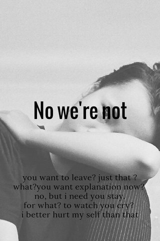 No we're not you want to leave? just that ? what?you want explanation now? no, but i need you stay. for what? to watch you cry? i better hurt my self than that