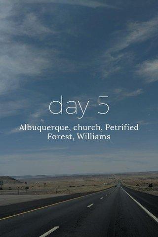 day 5 Albuquerque, church, Petrified Forest, Williams