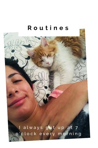 Routines I always get up at 7 o'clock every morning