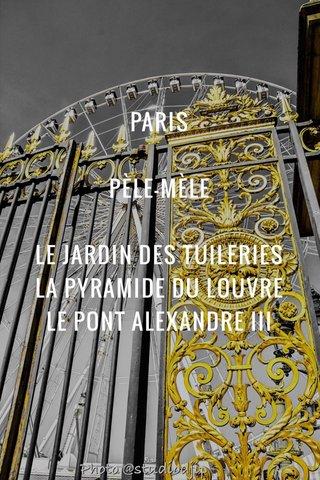 PARIS PÈLE-MÈLE LE JARDIN DES TUILERIES LA PYRAMIDE DU LOUVRE LE PONT ALEXANDRE III