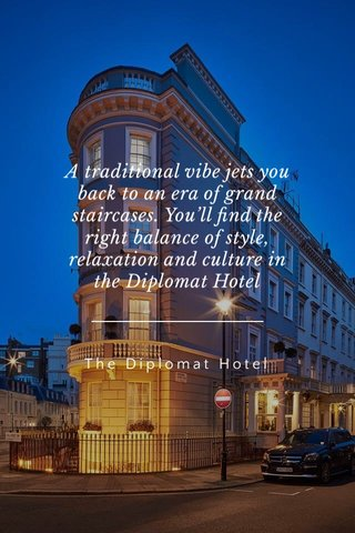 A traditional vibe jets you back to an era of grand staircases. You'll find the right balance of style, relaxation and culture in the Diplomat Hotel The Diplomat Hotel