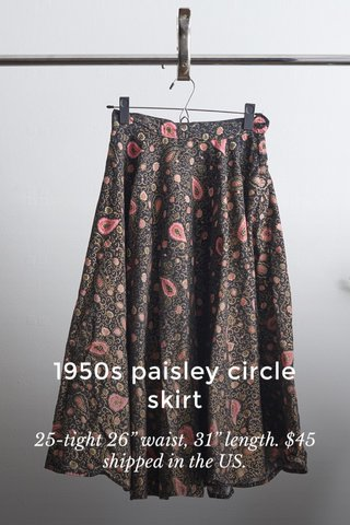"""1950s paisley circle skirt 25-tight 26"""" waist, 31"""" length. $45 shipped in the US."""