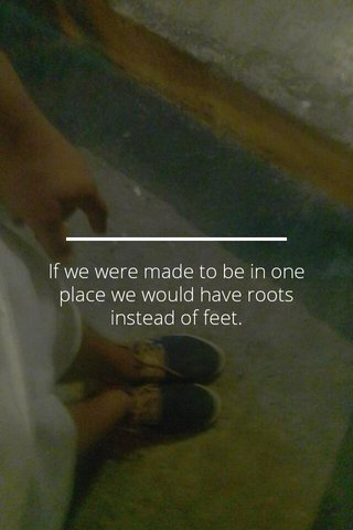 If we were made to be in one place we would have roots instead of feet.