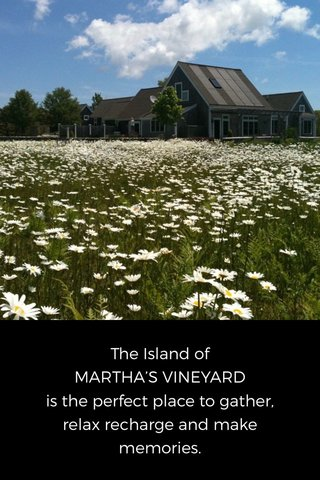 The Island of MARTHA'S VINEYARD is the perfect place to gather, relax recharge and make memories.
