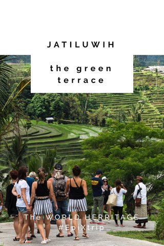 JATILUWIH the green terrace The WORLD HERRITAGE #EpiXtrip