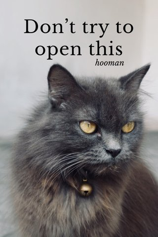 Don't try to open this hooman