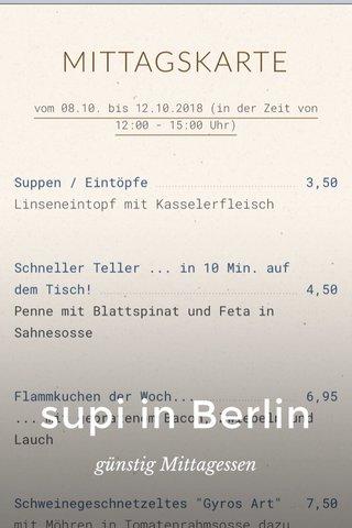 supi in Berlin günstig Mittagessen