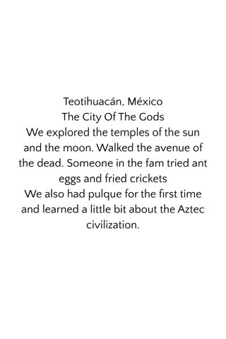 Teotihuacán, México The City Of The Gods We explored the temples of the sun and the moon. Walked the avenue of the dead. Someone in the fam tried ant eggs and fried crickets We also had pulque for the first time and learned a little bit about the Aztec civilization.